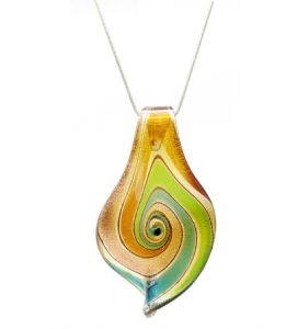 Distinctive Decorative Brown Blue Gold Green Venetian Murano Glass Teardrop Shaped  Pendant / Necklace